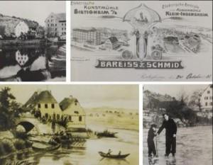 """Oben links das Wehr, rechts das Firmenloge von """"Bareids und Schmid"""", unten links ein Gemälde von 1850, rechts Eislauf auf dem Neckar."""