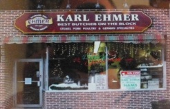 """Ein einprägsamer Werbeslogan: """"Karl Ehmer – The best Butscher on the Block""""."""