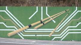 Die Launeddas ist ein traditionelles Musikinstrument aus Sardinien. Wandgemälde in Loceri.