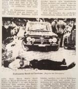 Brutale Gewalt in Sardinien. Auf der Straße ein erschossener Bandit.