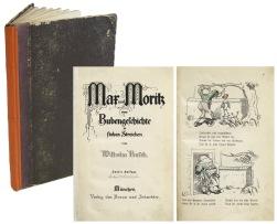 Busch, Wilhelm. Max und Moritz eine Bubengeschichte in sieben Streichen. Zweite Auflage. Munchen, (1868). Mit 99 handkolorierten Holzschnitt-Illustrationen. 4.800,- (Meindl + Sulzmann, Wien)
