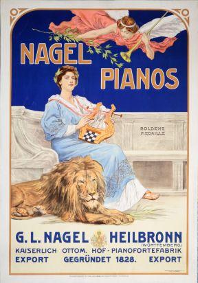Musik - Plakat: Nagel Pianos. Goldene Medaille. G. L. Nagel Heilbronn. Kaiserlich Ottom. Hof-Pianofortefabrik. (ca. 1910). 350,– (Bewer, Stuttgart)
