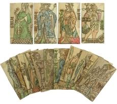 Spielkarten – Set von 17 Spielkarten für ein historisches Kartenspiel von Jean Personne. Leicht kolorierte Holzschnitte auf Papier auf Pappe. Lyon um 1495. 11.500,- (Meindl + Sulzmann, Wien)