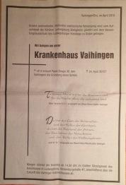Vaihinger Kreiszeitung: Ganzseitige Todesanzeige zum Ende des Krankenhauses.